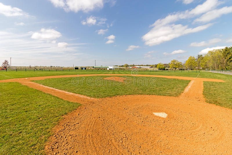 Empty baseball field from behind home plate. With blue sky and clouds, Kinderhook New York royalty free stock photos