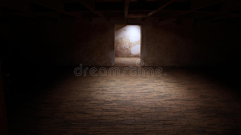 Empty basement in abandoned old industrial building royalty free stock photos