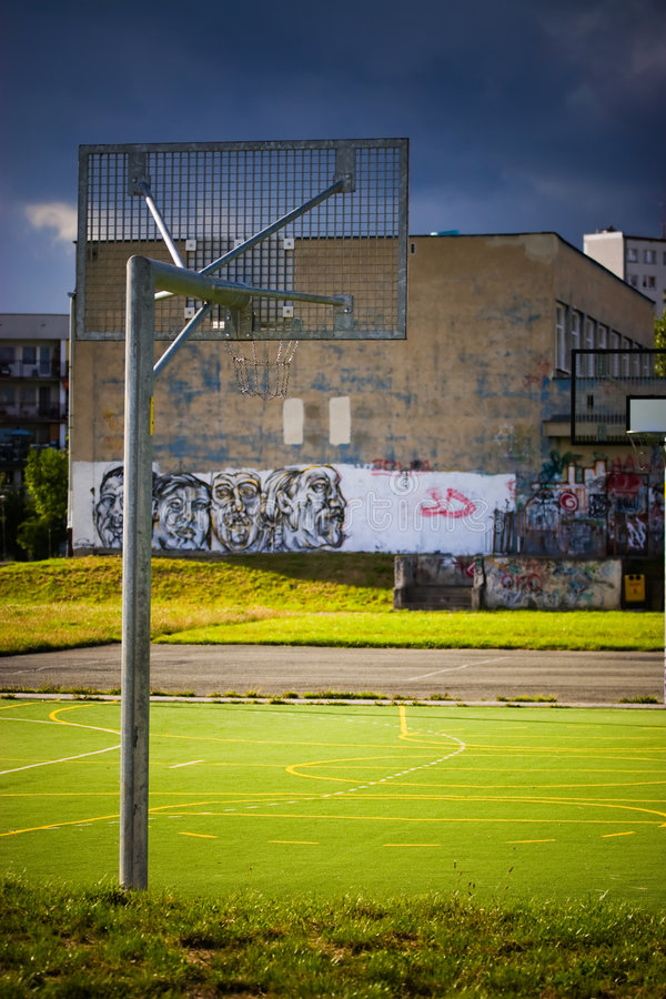 Empty basketball playground royalty free stock photo