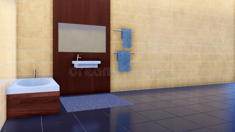 Empty bathroom interior with copy space tiled wall royalty free illustration