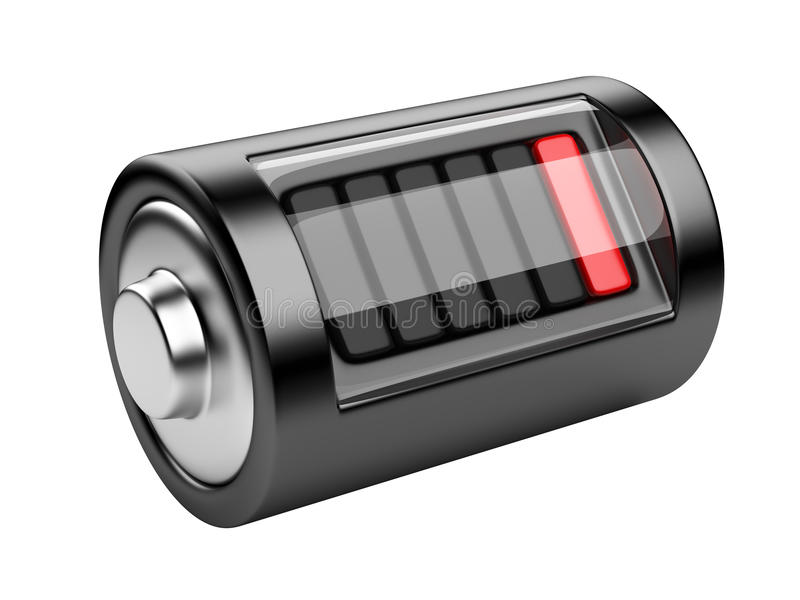 Empty battery with charge level. 3d illustration isolated on a white background royalty free illustration