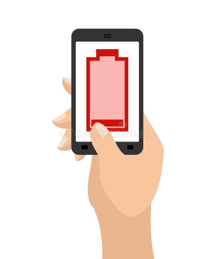 Empty battery life of smartphone. Red accumulator. Hand hold phone.  vector illustration