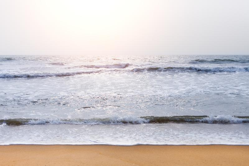 Empty beach background with Copy space. Beautiful sea wave on the beach of Sri Lanka. travel and Summer concept.  stock photo