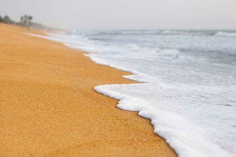 Empty beach background with Copy space. Beautiful sea wave on the beach of Sri Lanka. travel and Summer concept.  stock images