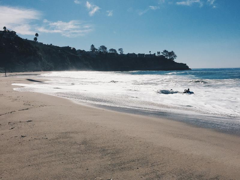 Empty beach in California stock image