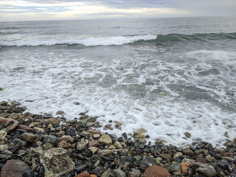 Empty beach in Cambrils Spain.  stock photos