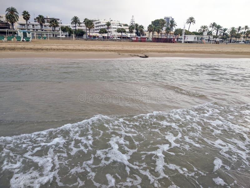 Empty beach in Cambrils Spain stock photo