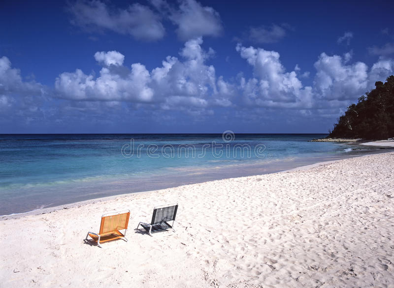 Empty Beach Chairs Caribbean Stock Images
