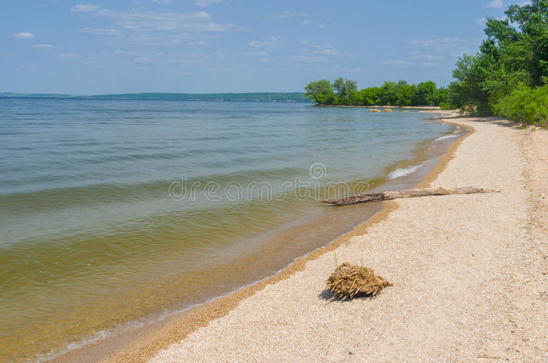 Empty beach on a Dnepr river. In central Ukraine royalty free stock photography