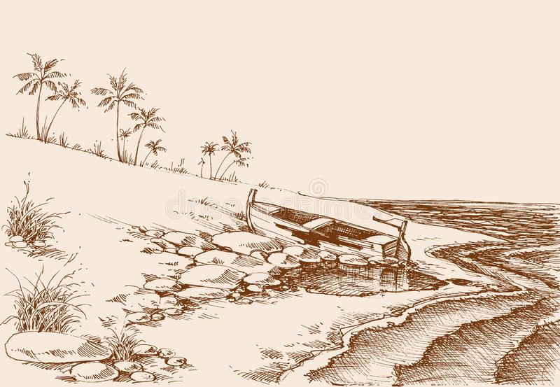 Empty beach drawing at the end of summer. Palm trees in the background, lateral view stock illustration