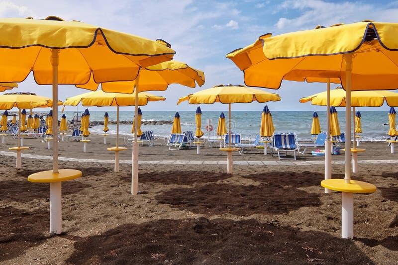 Empty beach. Ladispoli, Italy - September, 7th, 2017. Empty beaches in Italy. Beach season comes to an end stock photos