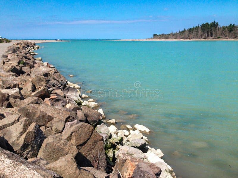 Empty beach near Christchurch, South Island, New Zealand.  stock photos