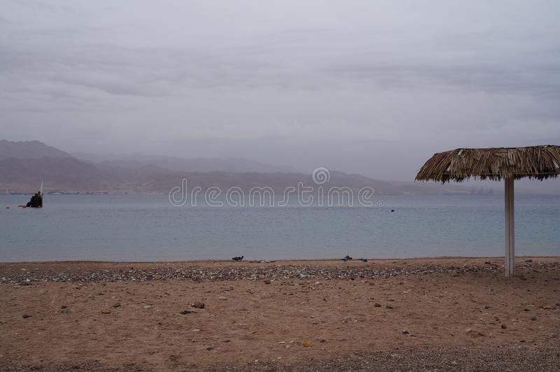 Empty beach near the Red sea. In winter stock image