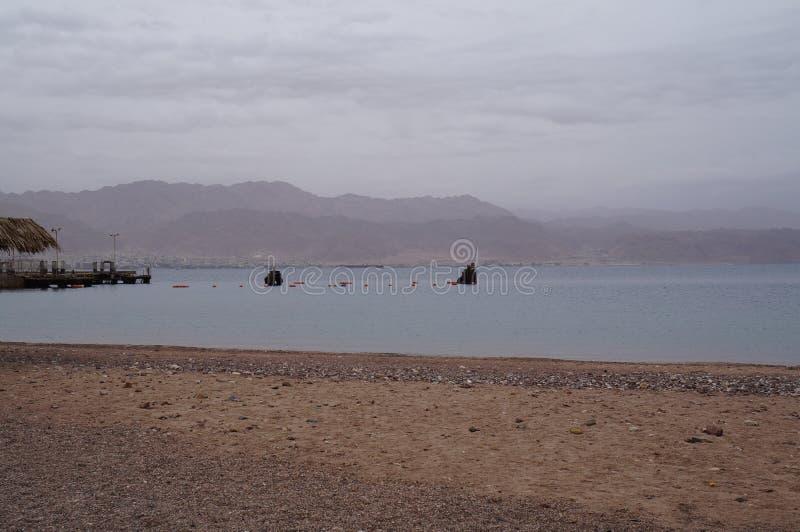 Empty beach near the Red sea. In winter stock photo