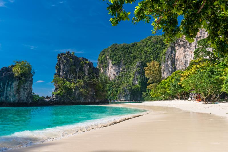Empty beach at the popular tourist site of Thailand. Hong Island stock photography