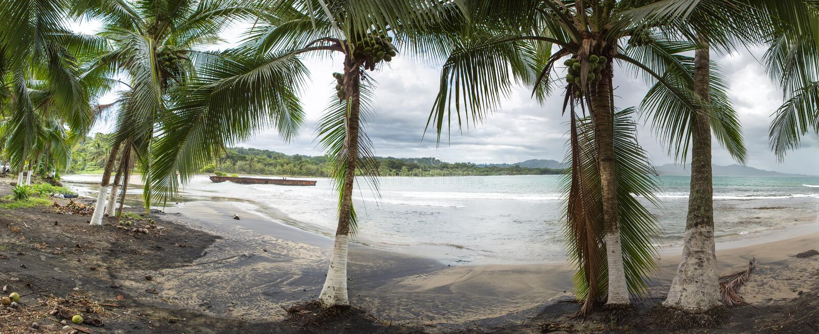 Empty beach in Puerto Viejo, Costa Rica stock photography