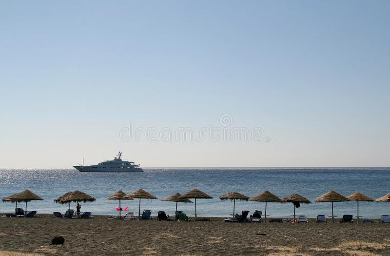 Download Empty Beach With Sun Shades And Chairs, Greece Stock Photo - Image: 11303406