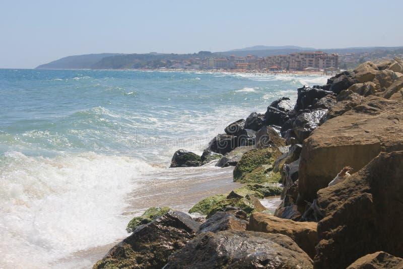 An empty beach on the Black Sea seaside at Obzor, Bulgaria royalty free stock photo