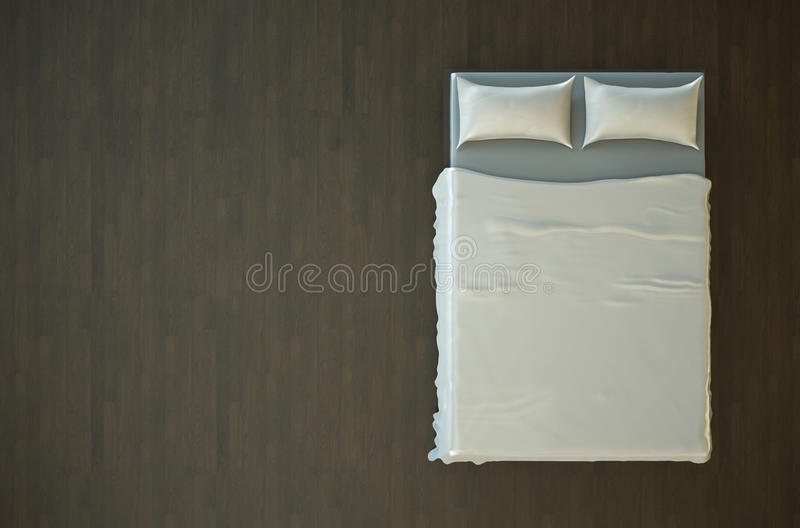 Empty bed. Top view of an empty bed with white bedding. 3D render royalty free illustration