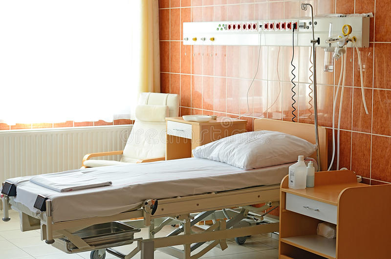 Empty Bed On Hospital Ward. Detail royalty free stock photos