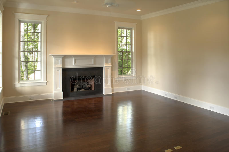 Empty bedroom with fireplace stock photos