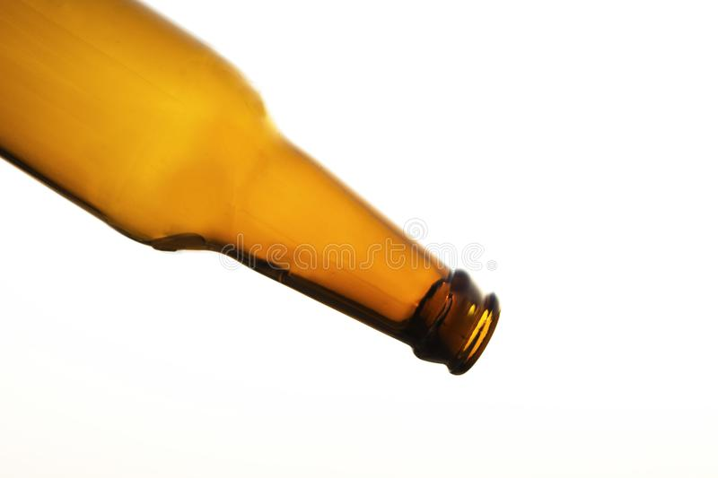 Empty beer bottle. Isolated royalty free stock image