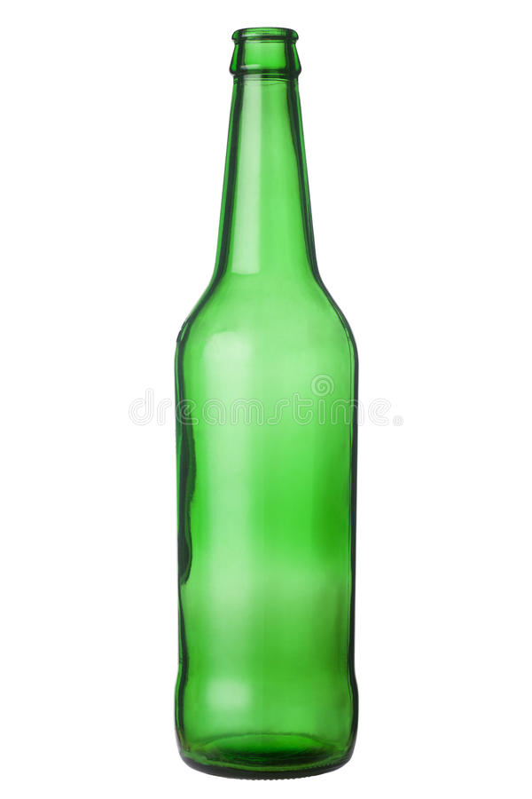 Empty beer bottle. Isolated on white background royalty free stock photography