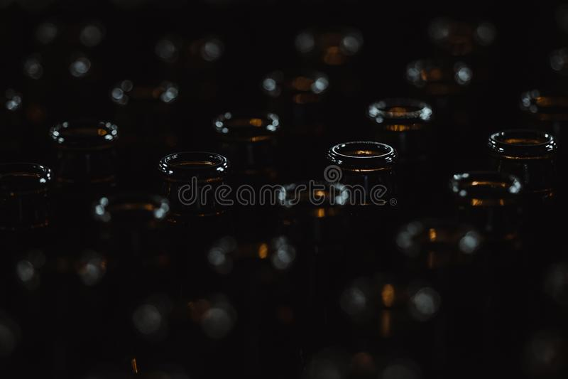 Empty Beer Bottles Waiting to Enter the Bottling Line royalty free stock photos