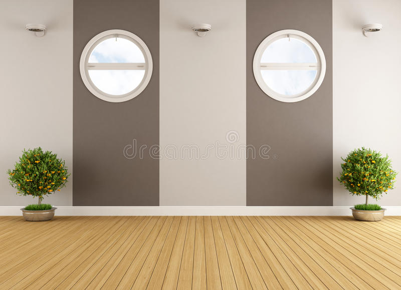 Empty beige and brown interior vector illustration