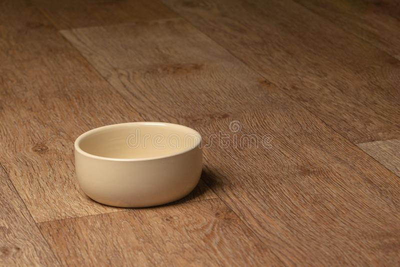 Empty beige cat and dog food bowl on the floor. Beige cat and dog food bowl on the floor royalty free stock images