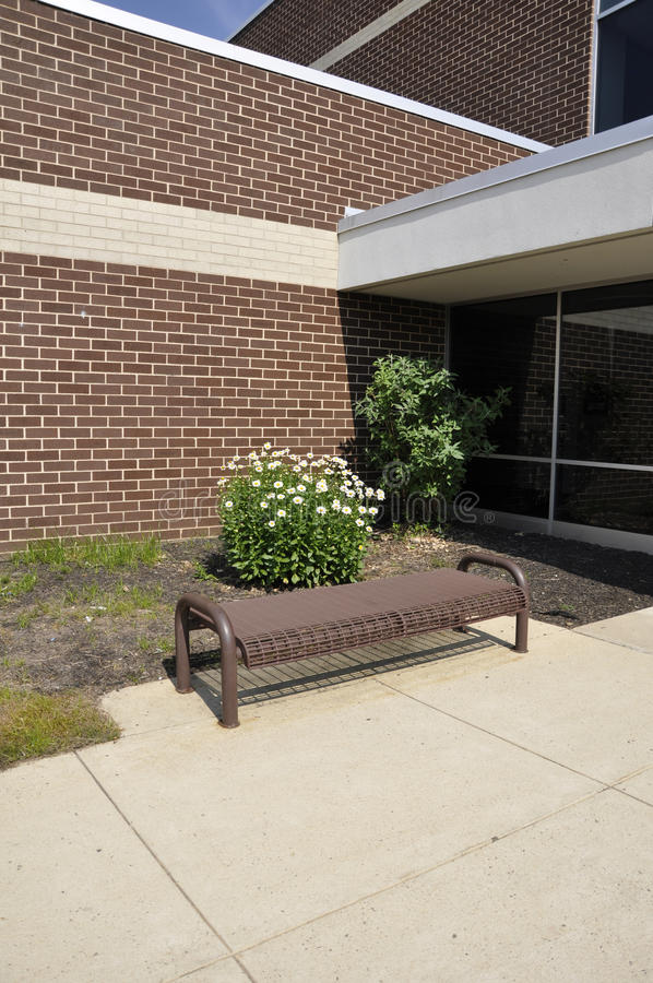 Download Empty Bench By A School Building Stock Photo - Image: 20160060