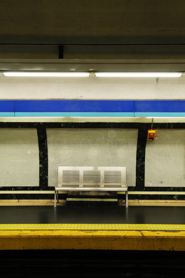 Empty bench in the subway royalty free stock photo