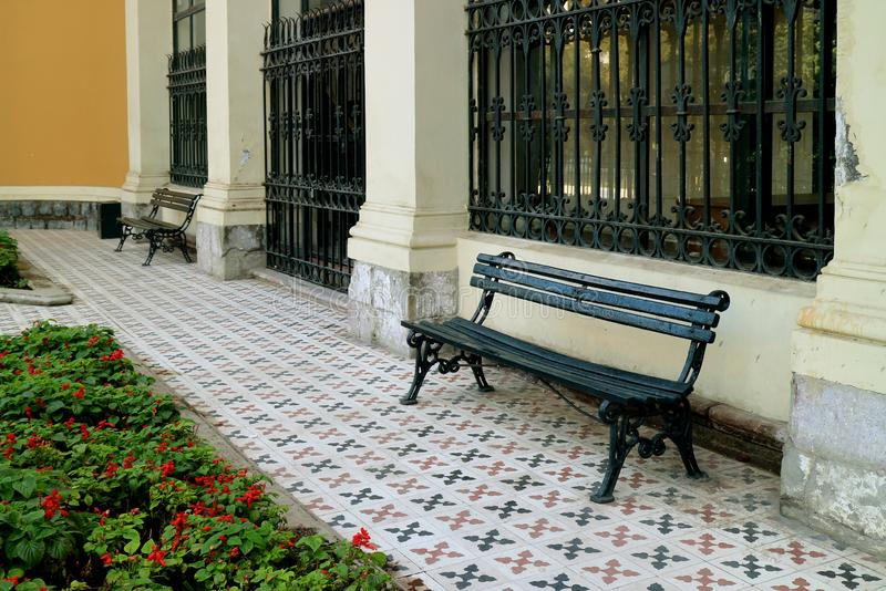 Empty Benches at the Courtyard of Cerro Santa Lucia Historic Park in Santiago, Chile royalty free stock image