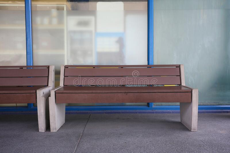 Empty benches in gas stations royalty free stock photo