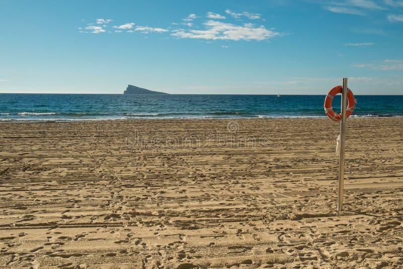 Empty Benidorm beach. During low season, Costa Blanca, Spain royalty free stock photo
