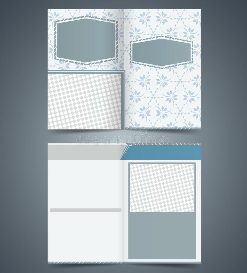 Empty Bifold  Brochure Template Design With Patter Stock Photo