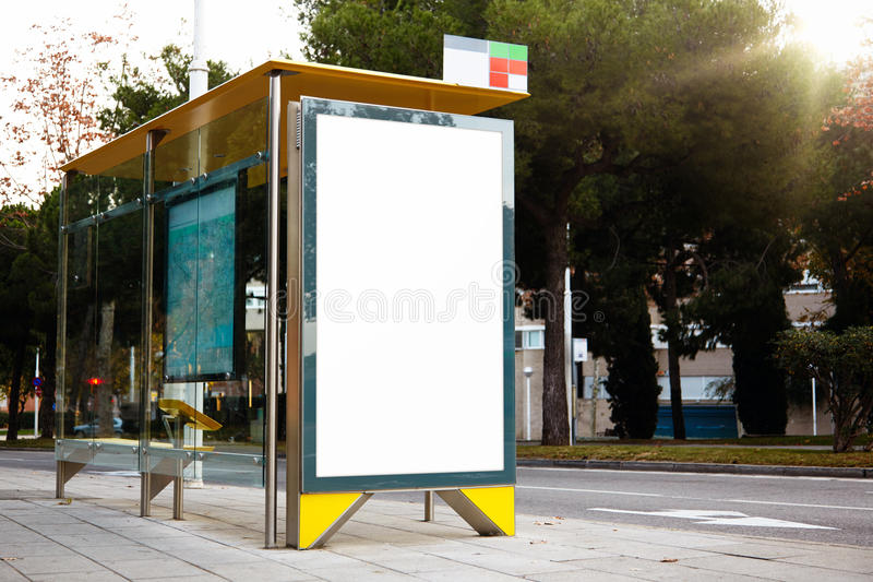 Empty billboard on the bus stop. Horizontal royalty free stock image