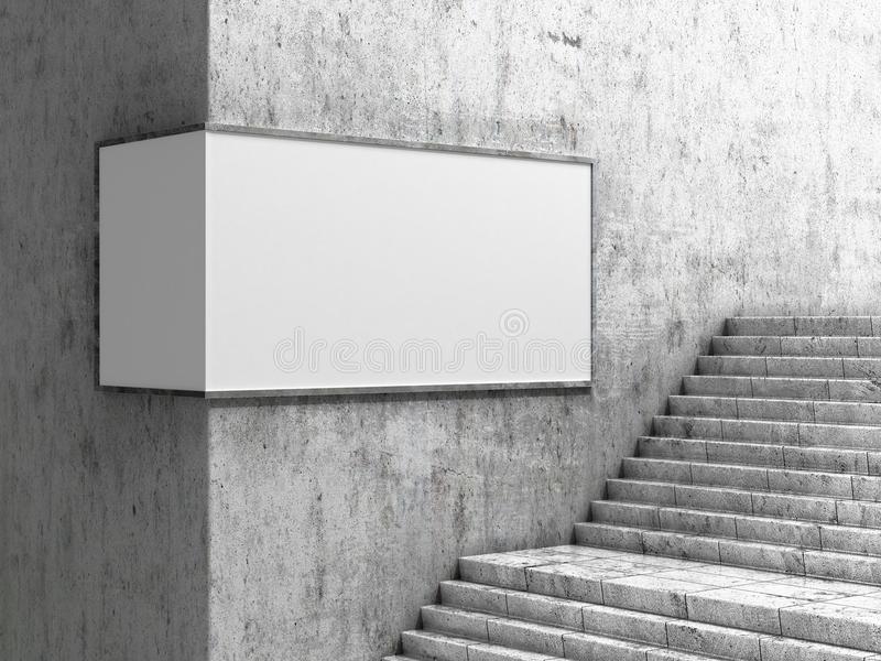 Empty billboard, located in the underground hall, next to the steps. 3d vector illustration