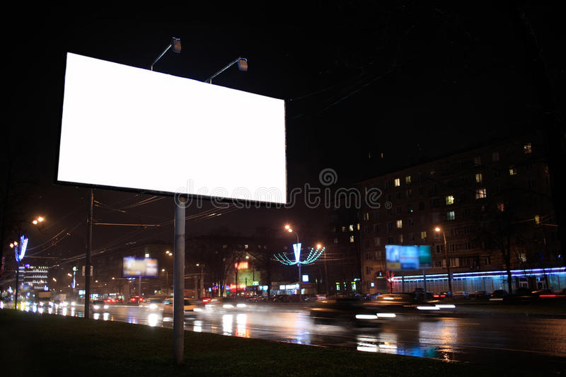 Empty billboard, by night stock photos