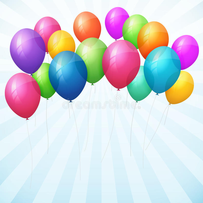 Empty birthday background with colorful balloons royalty free illustration