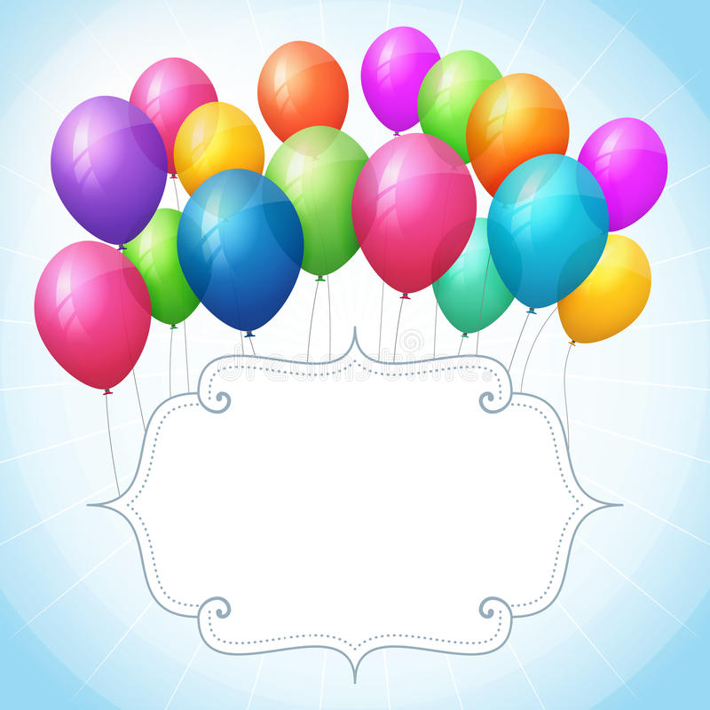 Empty birthday blue background with colorful balloons royalty free illustration
