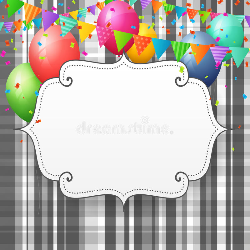 Empty Birthday greeting card with balloons and flags. On striped paper background stock illustration