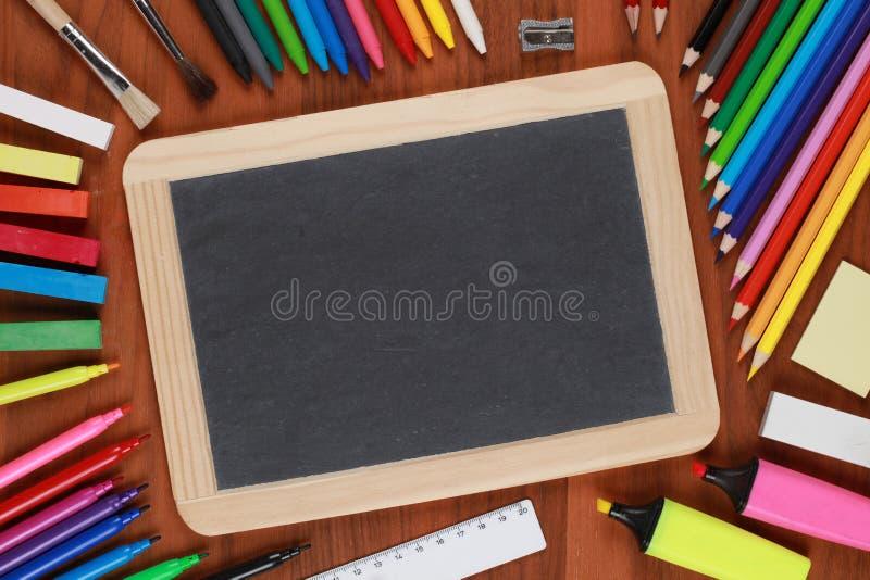 Empty Black Chalkboard With Copyspace Stock Photos
