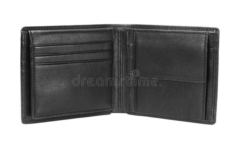 Leather Wallet. Empty Black Leather Wallet on White Background stock photo