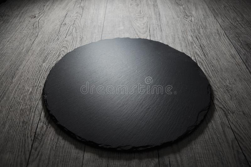 Empty black slate board for text recipe or meat menu royalty free stock photos