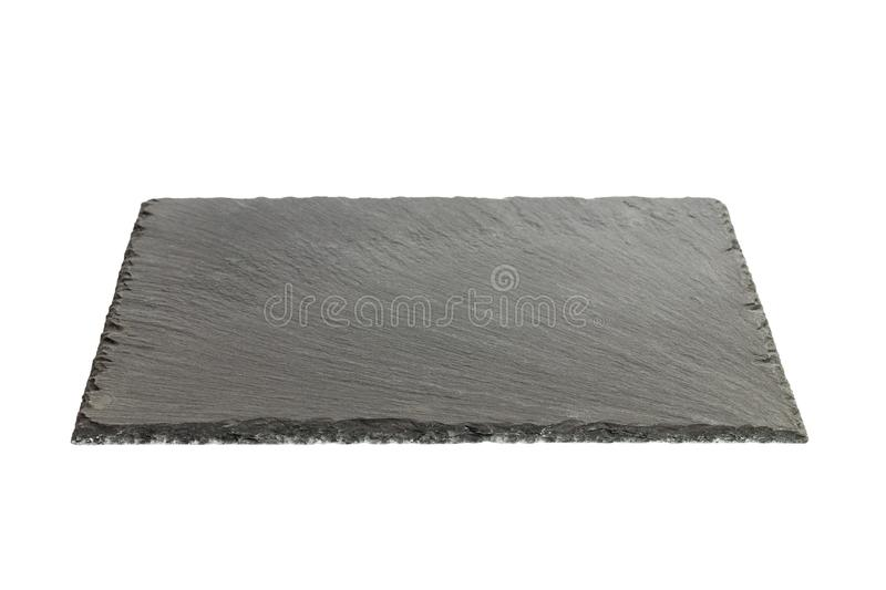 Empty black slate plate isolated on white background royalty free stock image