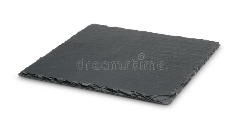 Empty black slate plate isolated on white. Background royalty free stock images