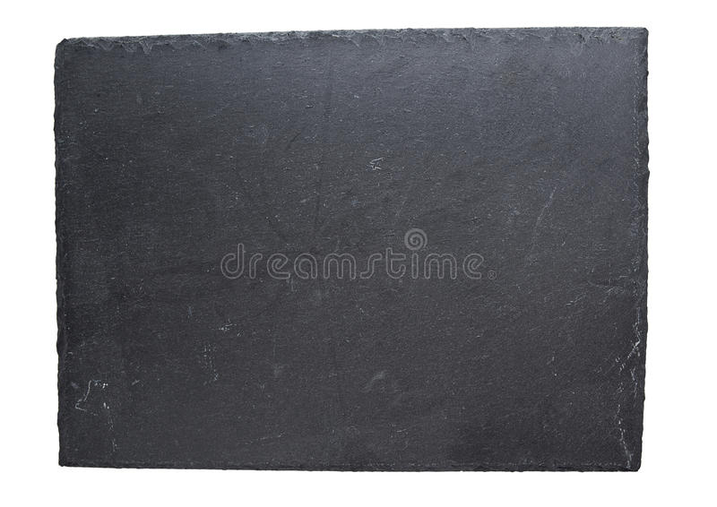Empty black slate plate isolated on white background royalty free stock photography