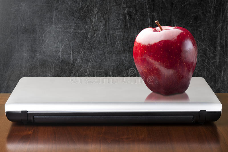 Empty Blackboard Red Apple Closed Notebook stock photography