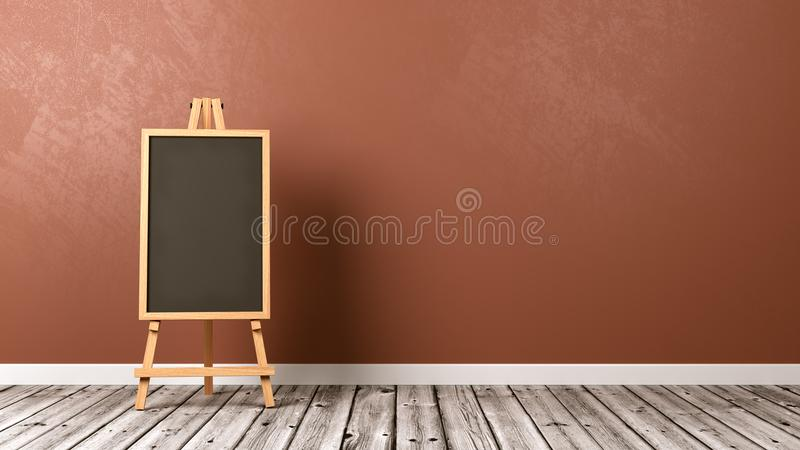 Empty Blackboard on Wooden Floor royalty free illustration